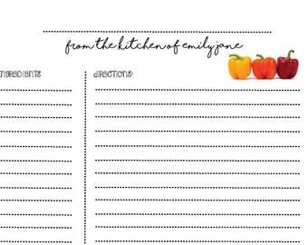 Recipe Card - Customizable