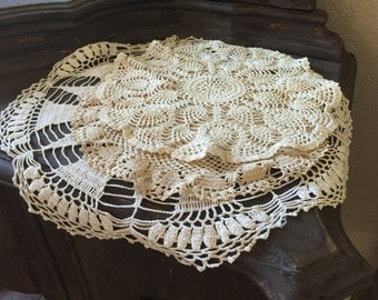 Vintage Doily Set of 3 - Shabby Chic
