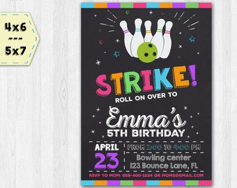 Bowling invitation - Bowling party invitation - Bowling birthday invitation - Bowling chalkboard invitation - Girls invitate