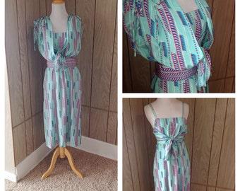 Vintage 80's 90's nylon ethnic print dress - small