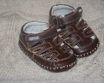 Brown Leather 'OshKosh' Baby Soft Soled Sandals