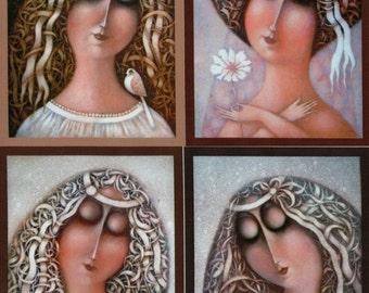 Lady portrait applique piece, cotton fabric block