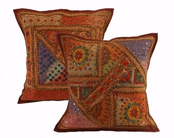 Ethnic Handmade tribal Indian patchwork cushion cover set of 2 pcs