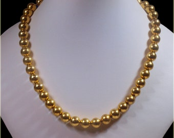 "Vintage, Gold Coloured Beaded Necklace Signed ""Napier"" (2654)"