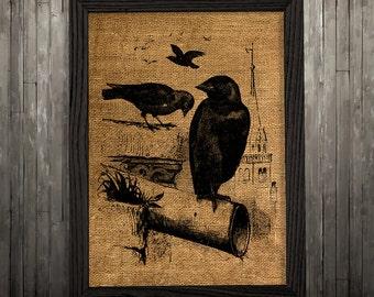 Crow poster Burlap print Bird print Raven decor BLP221