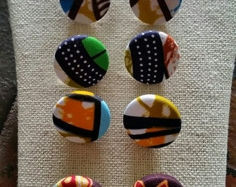 Set of 5 pair- AUTHENTIC ANKARA fabric button earrings -size 7/8 inch