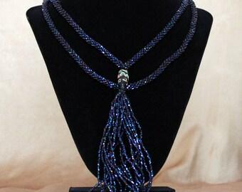 Vintage Beaded Tassel Necklace, Vintage Flapper Necklace