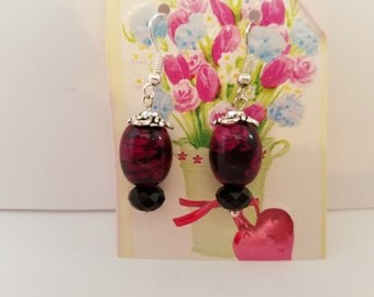 Burgundy and Rose Earrings with Black Accents