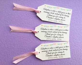 10 personalised adoption shower favour tags. Bunting pastel colours. Adopting.