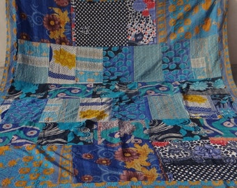 Reserve Vintage Hand Stitch Kantha Bedspread Home Decor Queen Revesible Kantha Quilt Queen Size