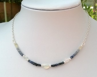 New - Sapphire and opal sterling silver necklace