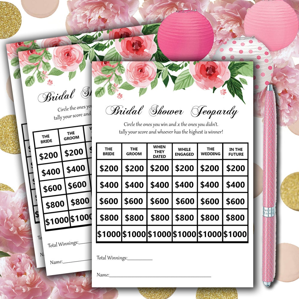 Clever Jeopardy Categories: Jeopardy Bridal Shower Game Printable Instant By ABridalStory