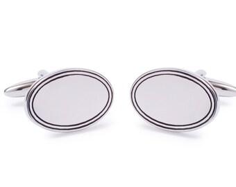 Oval Cufflink with Black Edge