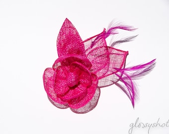 Pink Classic Sinamay Flower Fascinator/Clip