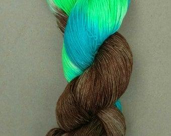 Hand dyed yarn, sock weight, Superwash Merino, 463 yards, Bisbee