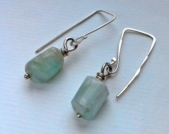 Aquamarine and sterling silver handmade earrings.