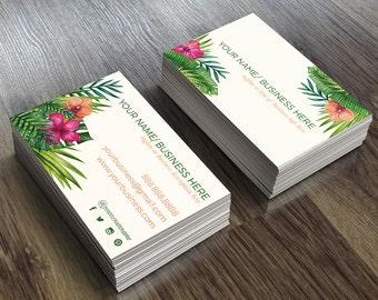 Custom Business Card Design, Floral Business Cards, Tropical Business Card, Beach Business Card, Business Card Design