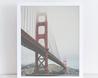 San Francisco Bridge Printable Art, Golden Gate Bridge, Modern City Wall Art, Urban Landscape, America, Printable Poster, Instant Download