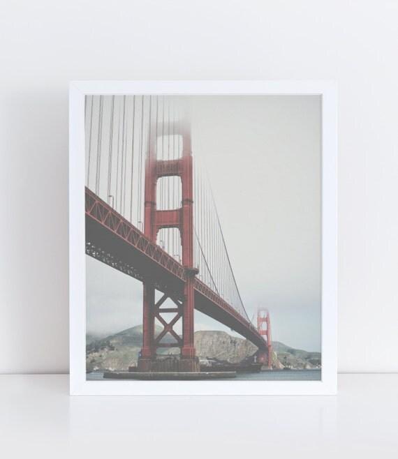 San Francisco Bridge Printable Art Golden Gate Bridge Modern