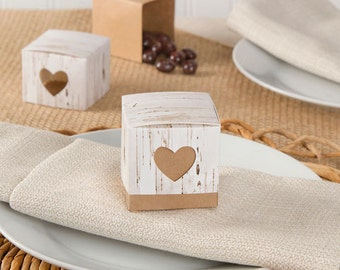 Rustic Birch Favor Boxes - 24 Pieces - 2 x 2 x 2 Inches