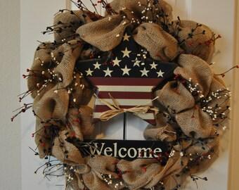Patriotic Red, White, Blue Burlap Wreath