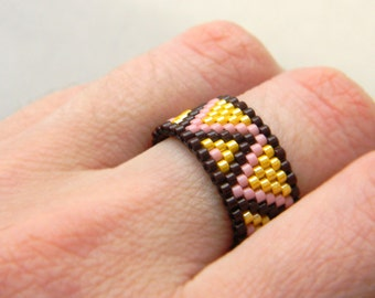 Colorful peyote ring, beaded ring, beadwoven ring, seed bead ring, beaded jewelry, seed bead jewelry, beadwork, delica beads ring