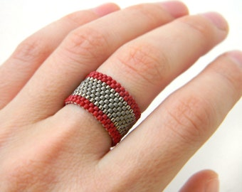 Seed bead ring Wide band ring size 4 5 6 7 8 9 10 11 12 13 14 Modern ring for women Peyote ring Large size womens ring Beaded jewelry