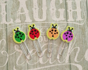 Set of 4 cute lady bug planner clips