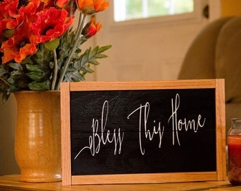 Bless This Home Sign | Country Decor | Farmhouse Style Home Decor | Wooden Sign | Wall Decor For Living Room | Entryway Sign