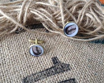 Cuff links coffee beans