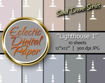 Digital Paper Lighthouse, Digital Paper Beach, Nautical Digital Paper, Summer Digital Paper Pack, Seaside Digital Paper Bundle