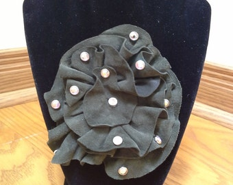 leather suede brooch