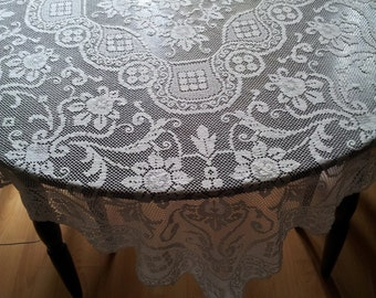 White crocheted lace large Tablecloth.Home Decor.