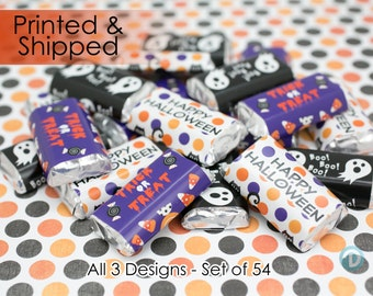 Halloween Party Favors, Halloween Party Decorations, Halloween Stickers - For Hershey Miniature Candy Bars (54 Stickers)