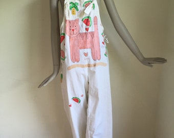 Vtg 70s 80s ooak painted cat and fruit overalls jumper jumpsuit romper novelty