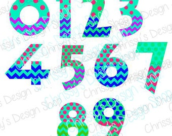 Numbers SVG cut file / patterned numbers svg file / Number print file / pok a dot number svg file / pokadot number file / chevron numbers