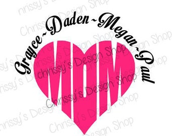 Mom heart and kids SVG / Mothers day svg / Mom heart cut file /silhouette mom file / Mom heart dxf / Mom svg gifts / vinyl crafting gifts