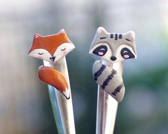 Fox and raccoon ice cream spoon, kawaii fox, cute raccoon spoon, forest friends, forest animals, cake fork