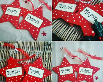 Personalised star Christmas tree bauble. Any name/wording.