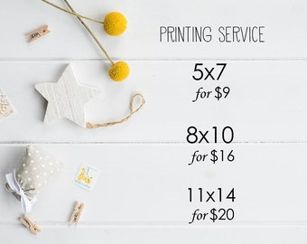 Professional Printing Service and Shipping for our Printable Art - Print and Mail to You 5x7 8x10 11x14