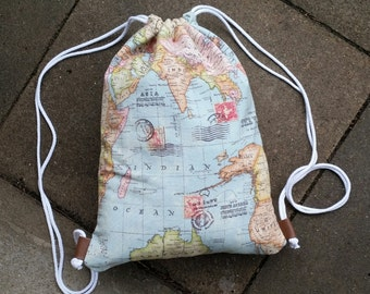 Moon bag gym bag with a world map motif