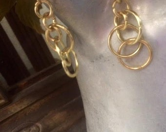 Gold Hoop Dangle Earrings