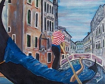 """Original Venice, Italy oil on canvas painting. """"The Gondolier""""."""