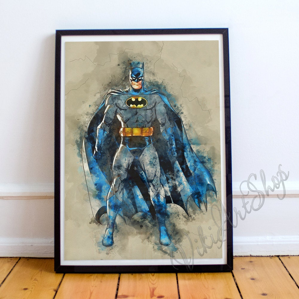 Superhero Batman Watercolor Art Poster Wall Art Home Decor