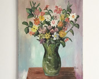 Original still life painting, vintage flower painting on canvas.