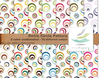 Retro Circle Pattern - Scrapbooking Digital paper Pack for personal and commercial use - Suitable for scrapbooking, cards  and backgrounds