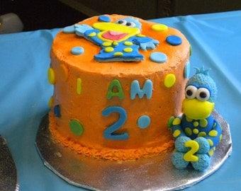 Fondant Pajanimals smash cake set