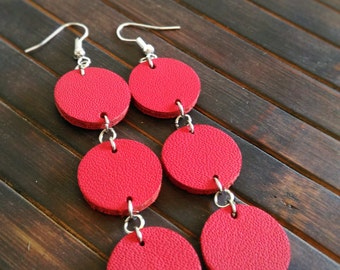 Red leather circle earrings nappa free postage