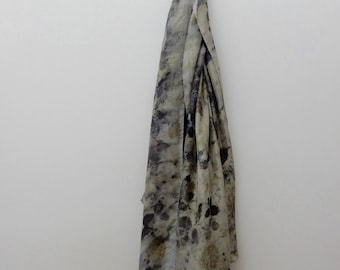 Eco Printed Hand Dyed Silk Scarf