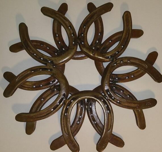horseshoe metal art wreath